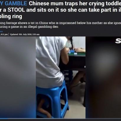 【海外発!Breaking News】我が子を自分の座るスツールに閉じ込めて麻雀に夢中の母親(中国)<動画あり>