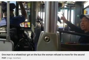 【海外発!Breaking News】「かまうもんか!」優先席に座った女性、車イスの男性に席を譲らず(米)<動画あり>