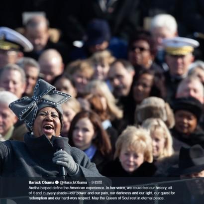 """【イタすぎるセレブ達・番外編】アレサ・フランクリン死去にセレブら追悼 オバマ氏「""""ソウルの女王""""が永遠の安らぎのなかで眠りますように」"""