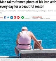 【海外発!Breaking News】亡き妻の写真を抱え、毎日思い出のビーチへ足を運ぶ男性(伊)