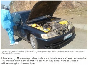 【海外発!Breaking News】車のボンネットの下に大量のヘロイン 国境検問所で発覚(南ア)