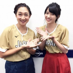虻川美穂子(北陽)と矢島舞美(画像は『矢島舞美 2018年8月4日付Instagram「世界ソフトボール 日本vs中国 日本勝ちましたね~~」』のスクリーンショット)