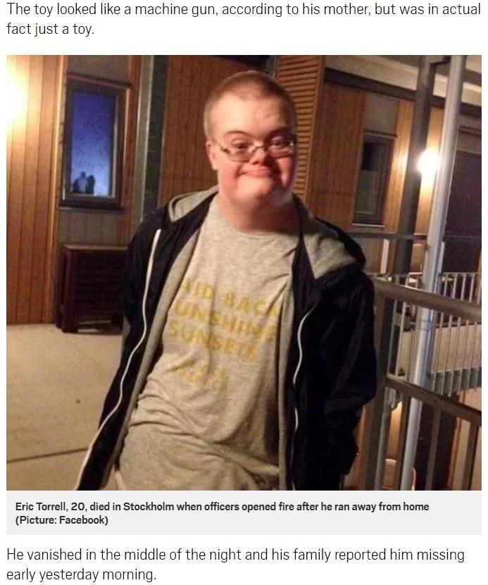 おもちゃの銃を持っていたことで銃殺されたダウン症の男性(画像は『Metro 2018年8月3日付「Man with Down's Syndrome shot dead by police after he fled home with a toy gun」(Picture: Facebook)』のスクリーンショット)