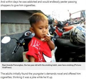 【海外発!Breaking News】1日40本のタバコを吸う2歳児 またもやインドネシアで
