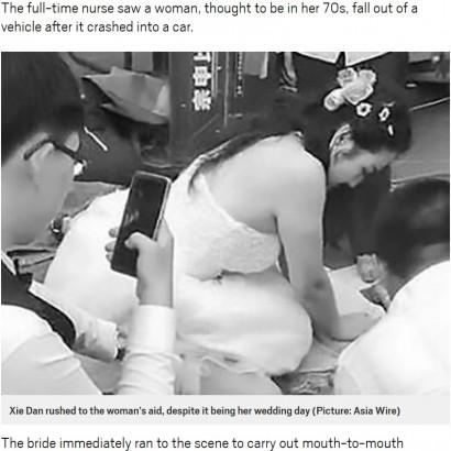 【海外発!Breaking News】交通事故の現場に遭遇した花嫁、なりふり構わず救助に尽力(中国)