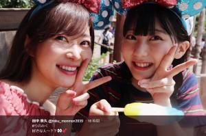 指原莉乃とアイスを食べる田中美久(画像は『田中美久 2018年8月21日付Twitter「#りのみく 好きな人~??」』のスクリーンショット)