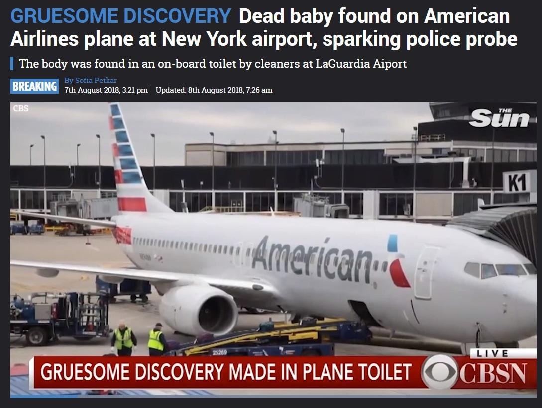 駐機中のアメリカン航空機トイレで胎児の遺体発見(画像は『The Sun 2018年8月8日付「GRUESOME DISCOVERY Dead baby found on American Airlines plane at New York airport, sparking police probe」』のスクリーンショット)