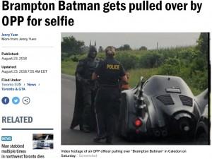 【海外発!Breaking News】公道を走るバットマンカーに警察官が停止命令 しかし理由は…(カナダ)<動画あり>