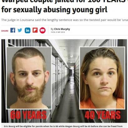 【海外発!Breaking News】未成年少女への性的虐待で20代夫婦、2人合わせて100年の懲役刑(米)