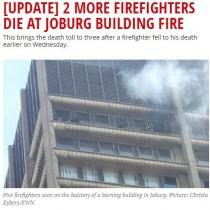 【海外発!Breaking News】政府所有ビルで今年3度目の火災 安全調査を1年待たされた挙句の悲劇 消防士3名が犠牲に(南ア)