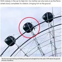 【海外発!Breaking News】ひとりで観覧車に乗せられた5歳児、窓から飛び出し宙づり状態に(中国)