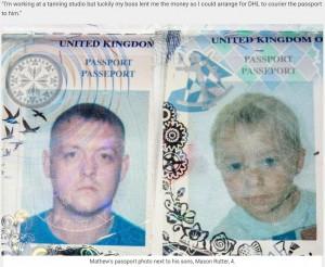 44歳父(左)と血の繋がりのない4歳息子(右)のパスポート(画像は『real fix 2018年9月20日付「Dad Managed To Fly From UK To Poland Using His Four-Year-Old Step-Son's Passport」(SWNS/REALFIX)』のスクリーンショット)