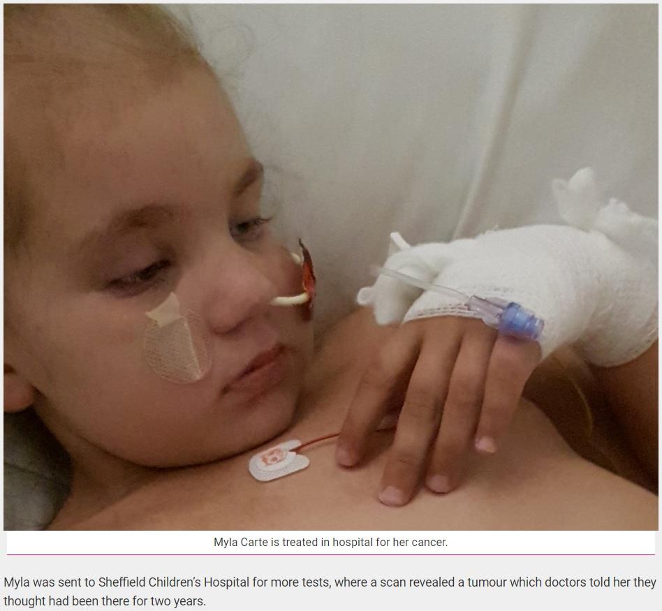 正確な診断が出るまで2年もかかってしまった5歳女児(画像は『real fix 2018年9月24日付「Five-Year-Old Girl Has Been Left Fighting For Her Life After It Took Doctors Two Years To Diagnose Her With CANCER(SWNS/REALFIX)』のスクリーンショット)