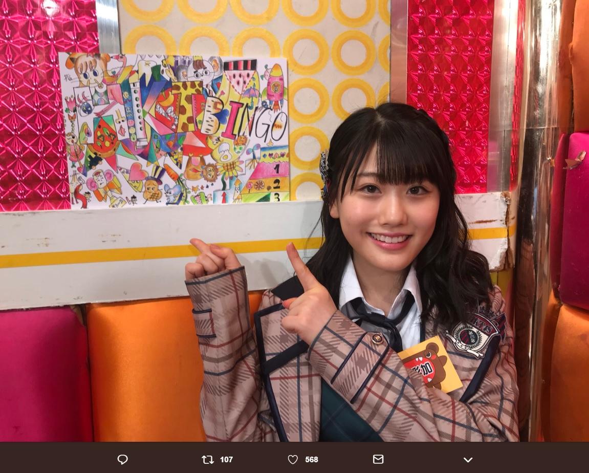 小田彩加が描いたイラスト(画像は『毛利忍 2018年9月17日付Twitter「Huluオリジナル「HKT48の笑い道」を配信中」』のスクリーンショット)
