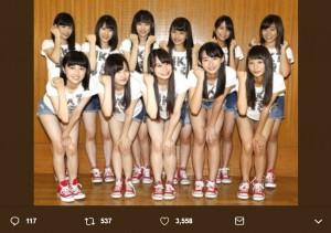 2016年7月12日、HKT48コンサートでお披露目された時の4期生(画像は『豊永阿紀 2018年10月2日付Twitter「お披露目ぶりのサンパレス、エモエモのエモすぎん?」』のスクリーンショット)