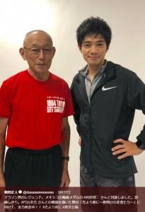 マラソン界のレジェンド・君原健二さんと和田正人(画像は『和田正人 2018年9月17日付Twitter「マラソン界のレジェンド。メキシコ五輪銀メダルの #君原健二 さんと対談しました。」』のスクリーンショット)