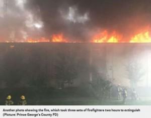 130人以上の住民が放火により住む家を奪われる羽目に(画像は『Metro 2018年10月8日付「Woman got so angry with her ex-boyfriend 'she torched his entire apartment block'」(Picture: Prince George's County FD)』のスクリーンショット)