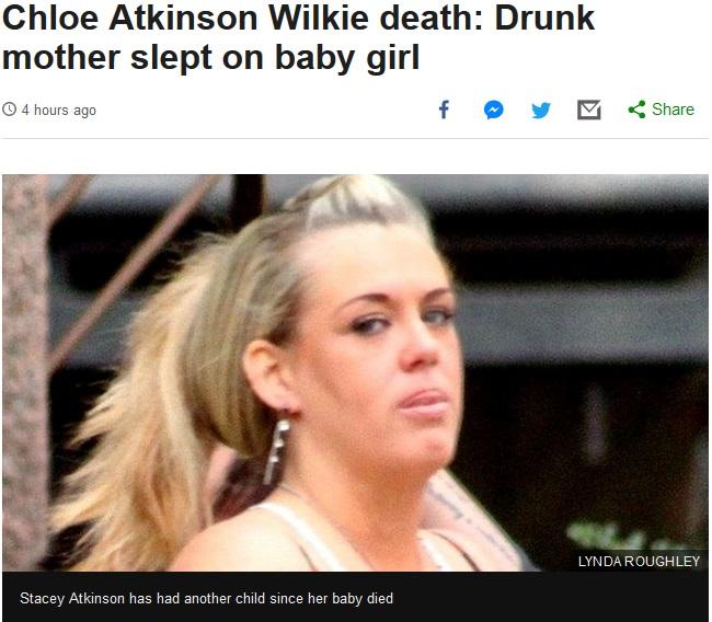 生後7週の娘を窒息死させた母(画像は『BBC News 2018年10月22日付「Chloe Atkinson Wilkie death: Drunk mother slept on baby girl」(LYNDA ROUGHLEY)』のスクリーンショット)