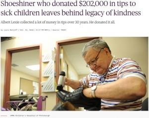 【海外発!Breaking News】総額2,000万円以上 30年間チップを子供病院に寄付し続けた靴磨き職人の男性(76)この世を去る(米)<動画あり>