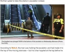 【海外発!Breaking News】エレベーターを避けた車椅子の男性、エスカレーターから30メートル下に転落し死亡(米)