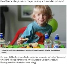 【海外発!Breaking News】卵アレルギーの3歳男児、「卵なし」と注文したバースデーケーキでショック症状に(英)