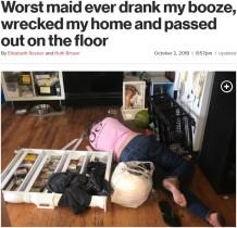 【海外発!Breaking News】依頼主宅の酒を飲み酩酊 家具を破壊し鍵まで無くした家政婦(米)