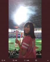 【エンタがビタミン♪】HKT48坂口理子「ソフトバンク-日本ハム」CSファーストステージを観戦、勝利の花火見上げる