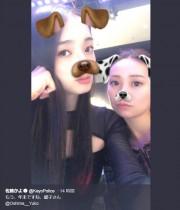"""【エンタがビタミン♪】大島優子""""犬""""に変身、佐藤かよがアプリ加工2ショット「もう、年末ですね…」"""