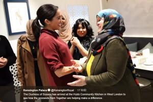 キッチンの女性達とすっかり打ち解けた様子のメーガン妃(画像は『Kensington Palace 2018年11月21日付Twitter「The Duchess of Sussex has arrived at the Hubb Community Kitchen in West London to see how the proceeds from Together are helping make a difference.」』のスクリーンショット)