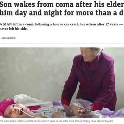 【海外発!Breaking News】意識回復を信じて介護し続けた母、12年ぶりに昏睡状態から目覚めた息子に涙(中国)