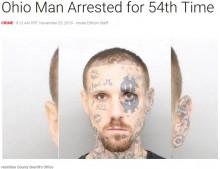 【海外発!Breaking News】顔に派手なタトゥーの男、逮捕され前科54犯に(米)