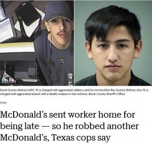 【海外発!Breaking News】マクドナルドで出勤初日に遅刻し追い返された男、別のチェーン店舗で強盗働く(米)