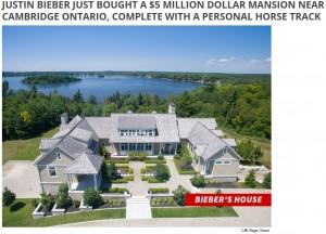 ジャスティンがカナダで購入した大豪邸(画像は『HOT 93.5 2018年8月23日付「JUSTIN BIEBER JUST BOUGHT A $5 MILLION DOLLAR MANSION NEAR CAMBRIDGE ONTARIO, COMPLETE WITH A PERSONAL HORSE TRACK」』のスクリーンショット)