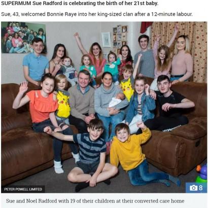 【海外発!Breaking News】イギリス一子だくさん家族に21人目の子供が誕生 夫妻「今度こそ絶対に最後」