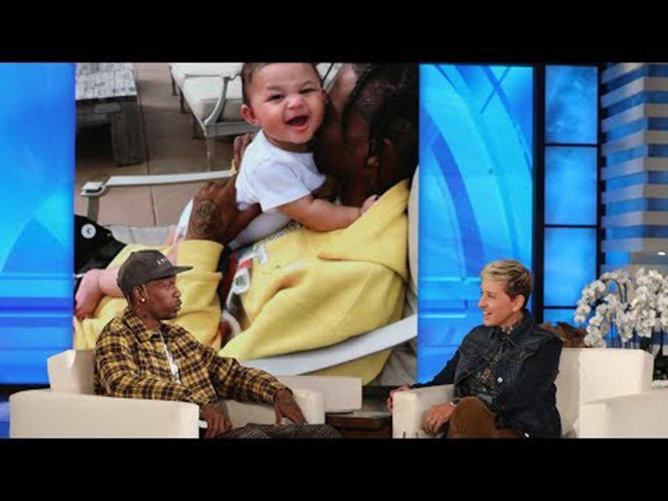 『エレンの部屋』に出演したトラヴィス・スコット(画像は『TheEllenShow 2018年11月12日公開 YouTube「Travis Scott Shares 'Crazy' Details About Kylie's Delivery」』のサムネイル)
