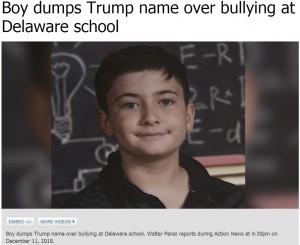 【海外発!Breaking News】トランプ大統領と同じ名字が原因でいじめを受ける少年、名字を変更する(米)