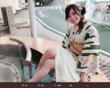 """【エンタがビタミン♪】SKE48松井珠理奈が""""足湯""""姿 下呂温泉ロケショットに「かわいすぎるんですが…」"""