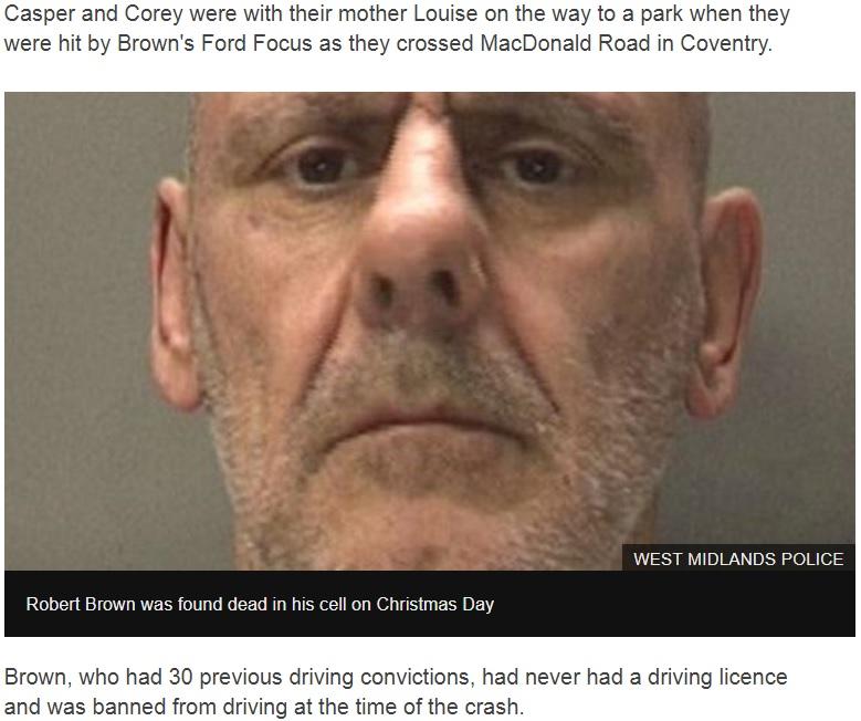 2人の子供を死亡させた罪で服役していたロバート・ブラウン、刑務所内で死亡(画像は『BBC News 2018年12月26日付「Casper and Corey Platt-May deaths: Coventry driver found dead in cell」(WEST MIDLANDS POLICE)』のスクリーンショット)