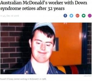 【海外発!Breaking News】マクドナルドで32年間働き続けた50歳ダウン症男性が退職(豪)