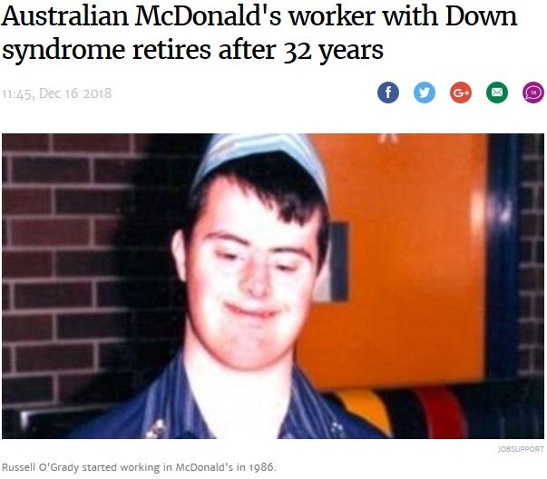 18歳の時から32年間マクドナルドで働き続けてきたダウン症の男性(画像は『Stuff.co.nz 2018年12月16日付「Australian McDonald's worker with Down syndrome retires after 32 years」(JOBSUPPORT)』のスクリーンショット)
