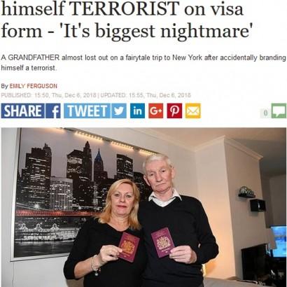 """【海外発!Breaking News】米渡航認証フォームで誤って""""テロリスト""""を選択 英70歳男性、生涯米入国拒否の危機に"""