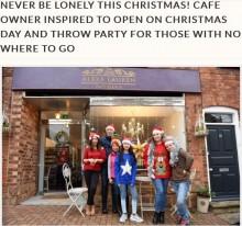 【海外発!Breaking News】クリスマスをひとりで過ごす人たちへ、カフェオーナーが無料パーティーを開く(英)<動画あり>