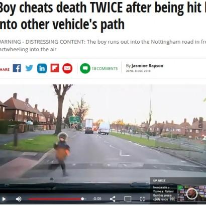 【海外発!Breaking News】ドライブレコーダーに衝撃映像 信号無視で車道に飛出した男児、2度にわたり危機を逃れる(英)