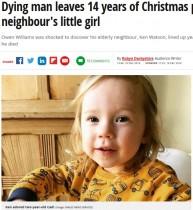【海外発!Breaking News】87歳男性、可愛がっていたお隣の女児に14年分のクリスマスプレゼントを残して旅立つ(英)