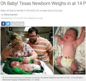 【海外発!Breaking News】テキサスで6,719gのビッグベビー誕生 病院の体重記録を大きく更新(米)