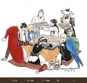 中村光さん書き下ろしイラスト、キャラクターたちがコタツを囲む図(画像は『中村光 2018年12月17日付Twitter「中村光オフィシャルツイッター開始します!」』のスクリーンショット)