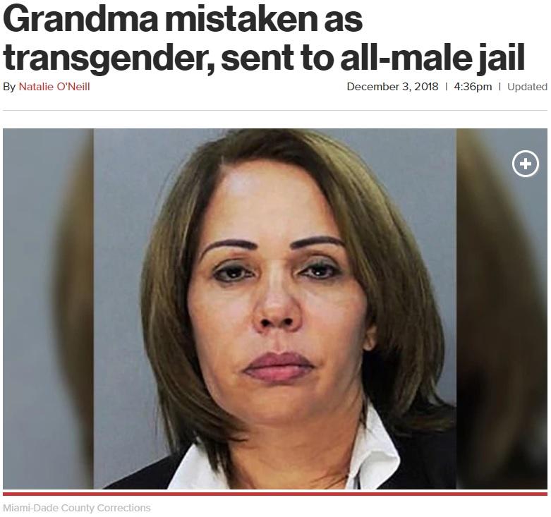 トランスジェンダーに間違われ男性刑務所に拘留された女性(画像は『New York Post 2018年12月3日付「Grandma mistaken as transgender, sent to all-male jail」(Miami-Dade County Corrections)』のスクリーンショット)