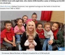 【海外発!Breaking News】高額な生活保護を得る8児のシングルマザー、高級車や馬に続き豊胸手術を計画(英)