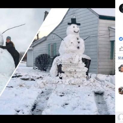 【海外発!Breaking News】「因果応報」雪だるまを壊そうとしたトラック、巨大な切り株に激突(米)