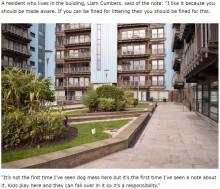 【海外発!Breaking News】公共の場で犬の糞を始末しない飼い主に、怒りのメッセージが残される(英)